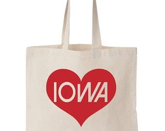 Handmade Eco Friendly I Heart Iowa Tote Bag for Tailgating