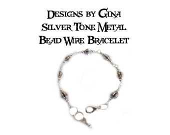 Antique Silver Tone Metal Melon Bead Wire Bracelet DG0039B1 Handmade Handcrafted Original Designs by Gina