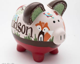 Rustic Woodland Personalized Piggy bank in Red and Brown with Fox, Deer, Hedgehog and Owl
