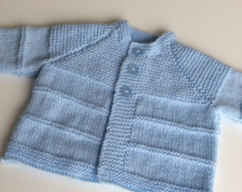 Hand knitted blue baby cardigan