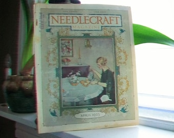 1923 Needlecraft Magazine April Issue with Great Cream Of Wheat Ad Vintage 1910s Sewing