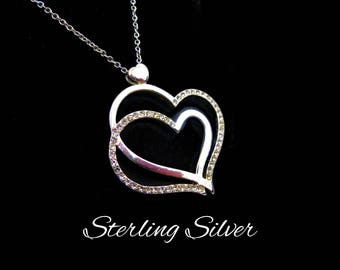 Sterling & CZ Heart Necklace, Double Heart, Modernist Design, Sterling Silver Chain, Large Heart Pendant, Mothers Day Gift For Her