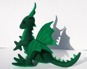 Emerald Dragon Fantasy Plush ~ Green Dragon Stuffed Animal Toy, Handcrafted, Eco Friendly, Waldorf, Plush Dragons