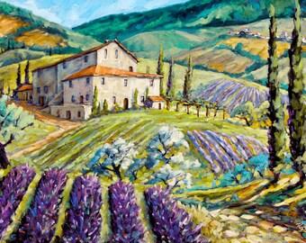 Original Large  painting Lavender Hills Tuscany 36X24