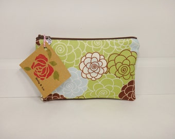 Packed Floral Small Cosmetic Bag, Small Pouch, Makeup Bag, Small Pouch Purse, Small Cosmetic Pouch, Zipper Pouch, Makeup Pouch