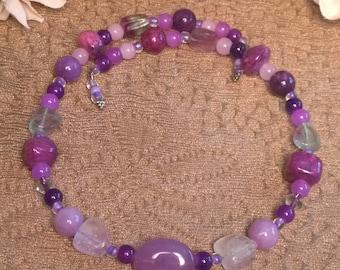 Shades of Purple Beaded Choker Necklace, Purple Choker, Purple Necklace, Memory Wire Necklace