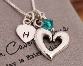 Sterling Silver Open Heart Necklace, Silver Heart Necklace, Birthstone Necklace, Initial Necklace, Gift for Her