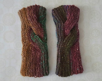 Cabled Crochet Wool Wrist Warmers - Pink / Purple / Green