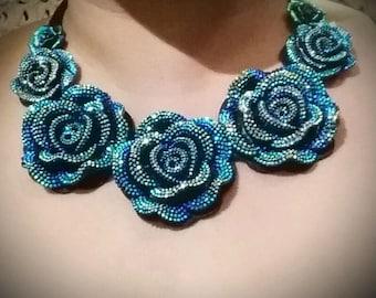 Blue Flowers Ribbon Bib Necklace