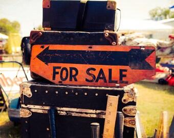 Photo, Flea Market Decor, For Sale Sign, Vintage Decor, Luggage, Still Life, Modern Wall Art, Boho Shabby Chic, Orange and Black, metal sign