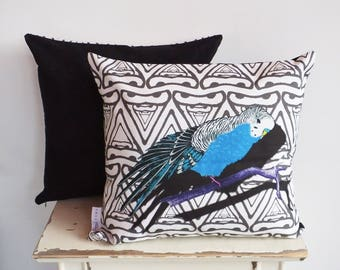 Faux Suede Leather back Budgie Bird Cushion Pillow Cover | blue & black | fits 50cm x 50cm filler | Great Christmas / birthday gift