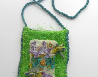 Hand Knit Green, Blue, Purple Felt Bag - Fun Flower Fringe