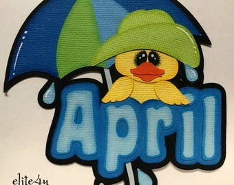 Elite4u Kam April Rain Showers Umbrella Duck Title Premade die cut paper piecing for scrapbook page album border