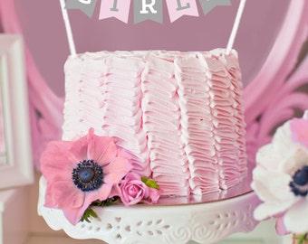 Pink Elephant Baby Shower Banner Elephant Cake Topper Baby Shower  Decorations Girl Baby Shower Ideas Cake