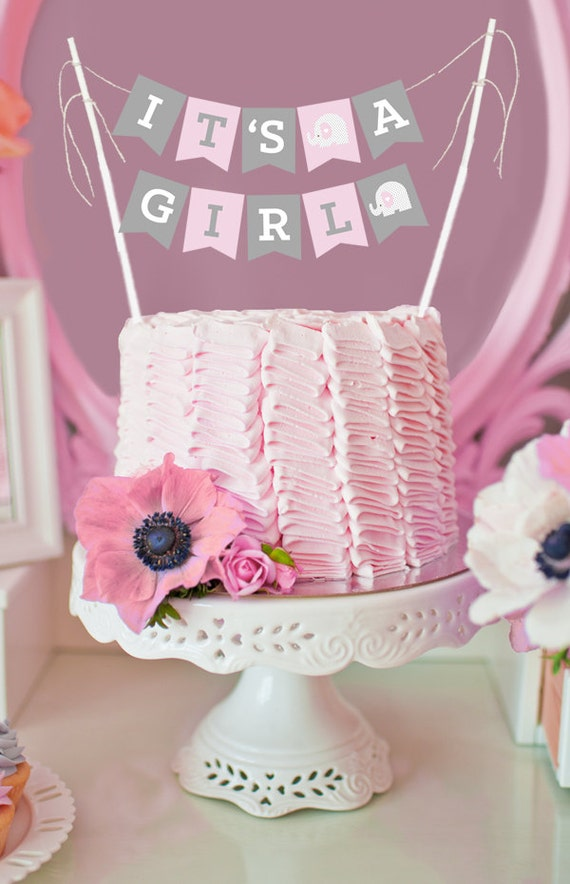 Pink Elephant Baby Shower Banner Elephant Cake Topper Baby