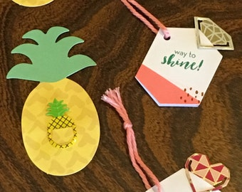 Pineapple, Diamond, and Heart metal paper kits for gifts and planners