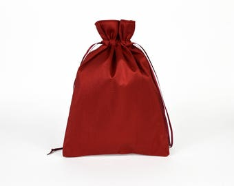 Red Silk Drawstring Bag, Red Drawstring Pouch, Tarot Bag, Red Bag, Oracle Bag, Christmas Gift Bag