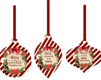 Alice in Wonderland Christmas 9 party tags with silk ribbon