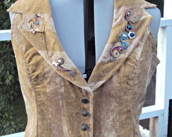 Handmade Steampunk Inspired Vest - Messenger of Illusion