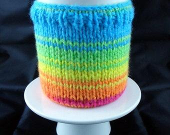 Handmade Knitted Rainbow Mug Warmer/Mug Hug with base