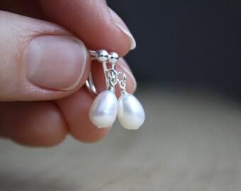 Freshwater Pearl Screw Back Earrings Pearl . White Pearl Earrings Clip On Silver . Non Pierced Earrings