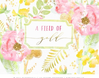 Watercolor Gold Flowers Clip Art | Bouquet Field Wild flowers Leaves Illustrations| Digital Cliparts | Graphic Design Resources