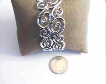 Vintage Sterling Silver Floral Cuff Bangle