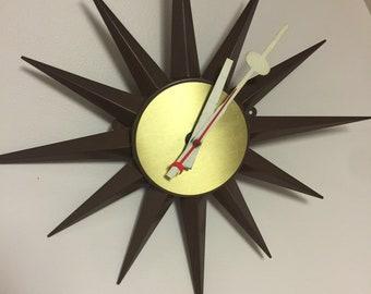 MCM Starburst Electric Clock Vintage All Metal