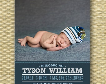Typography Style Birth Announcement Baby Boy Announcement Baby Girl Announcement Baby Announcement Welcome Baby Printable or PRINTED Tysonx