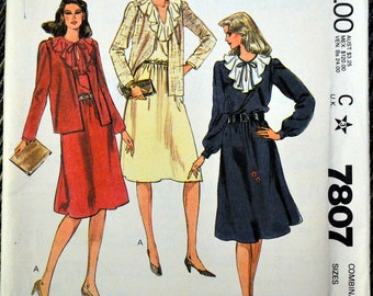 Vintage 80's Sewing Pattern McCall's 7807 Misses' Jacket and Dress  Size 10-12-14 Bust 32-36 Complete Uncut FF