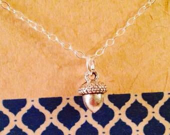 Sale Acorn Charm Necklace - Kiss Necklace- Love Necklace