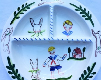 Baby Boy Bowl, Divided Baby Bowl ,Gift for Boy, Gift for Baby ,Personalized Bowl ,Handpainted Baby Boy Bowl, Baby Boy Gift