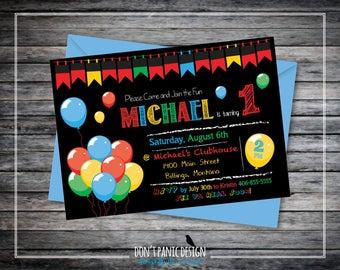 Printable Kid's Birthday Invitation - First Birthday Balloon Invitation - Super Cute & Fun Printable Birthday Invitation  -  Custom Colors