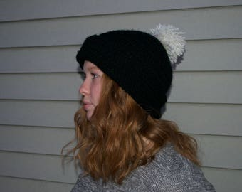 Crocheted Slouchy Beanie with Pom Pom