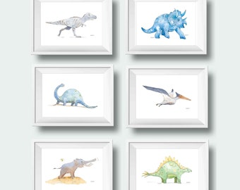 Dinosaur Nursery Wall Art, Set of 6, Set of 4, Gray Blue Dinosaur Decor, Baby Boy Nursery Decor, Dinosaur Wall Decor choose your own