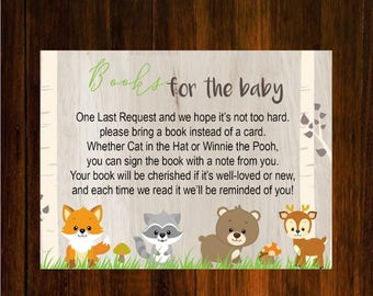 Woodland Animal Books for baby| Books for the baby  | Forest Animals Baby Shower game | instead of a card  book  | Instant Download