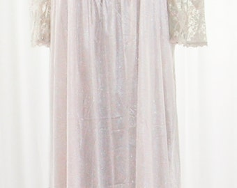 60s Pink Long Nightgown Alan R Lace Bell Sleeves Unworn 44 Bust