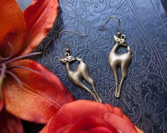 oh, my darling deer - sweet doe earrings of golden antique brass
