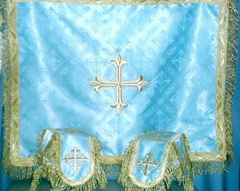 Eucharistic Veils (2 chalice covers and an Aer) to match Priest Vestment Fabric