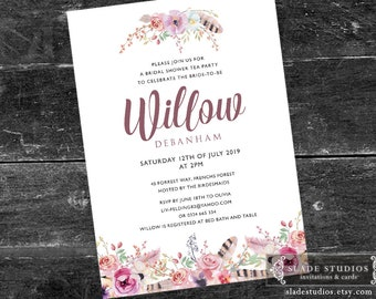 Boho Floral Bridal shower tea party printable invitations. Pink, lilac watercolour floral and feathers.