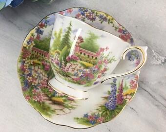 Kentish Rockery Royal Albert Tea Cup and Saucer Countess Shape Fine Bone China Vintage England Made Lovely