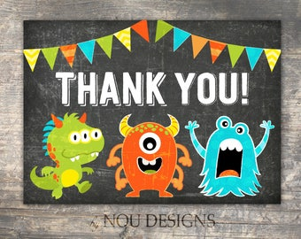 Chalkboard Cute Little Monsters Thank You Card- Printable File