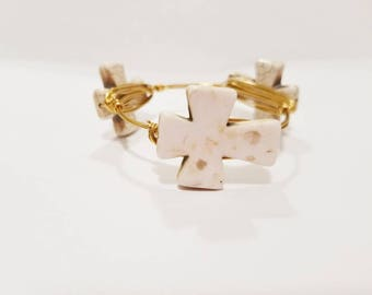 Bangle, Cross Bangle, Cross Jewelry, Wire Bangle, Bracelet, Jewelry, Stacking Bangle, Beaded Bangle, Gifts Under 20, Christmas Gift Ideas