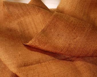 Traditional fine weave handwoven silk textile - asian tribal silk textile - handwoven traditional Thai scarf silk weaving - copper/gold
