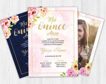 Quinceañera Invitation - English or Spanish, Floral, Rose Gold, Pink, Navy, Printable