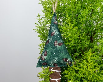 Christmas Tree Decoration • Miniature Pine Tree Pine Cone Print Hanging Ornament
