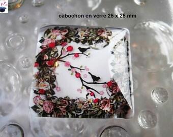 1 square glass cabochon size 25 x 25 mm bird theme