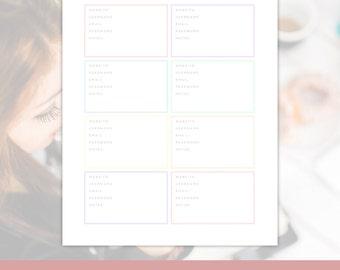 Website Password Keeper - Website Log-in Information, Online Password Tracker, Editable, Organizing Printables , Instant Download