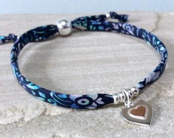 Friendship bracelet Best friend gift Best friend bracelet Handmade Heart bracelet Birthday gift Charm bracelet Blue bracelet