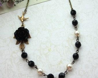 Black Noir Rose Necklace. Black Flower, Ivory Pearls, Flying Bird, Faceted Black Beads Necklace. Gothic Vintage Inspired. Winter Wedding.